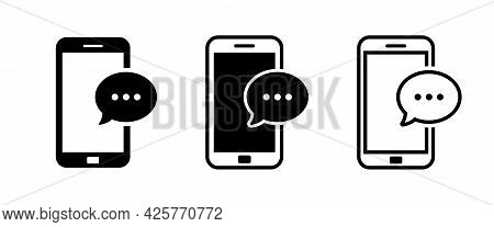 Mobile Phone With Sms Icon. Bubble Message On Phone Screen. Sms Notification On Smartphone.
