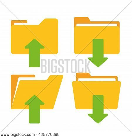 Download And Upload Yellow Folder Icon With Arrow. Flat Design Graphic Elements. Vector Eps 10.