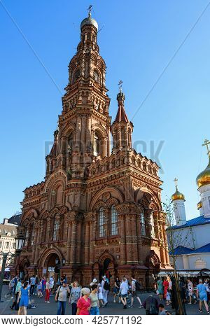 Kazan, Russia - June 19, 2021: Bell Tower Of Epiphany Cathedral In Kazan, Tatarstan, Russia. This Ta
