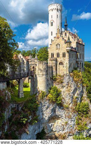 Lichtenstein Castle On Mountain Top, Germany. It Is Landmark Of Baden-wurttemberg. Scenic Vertical V