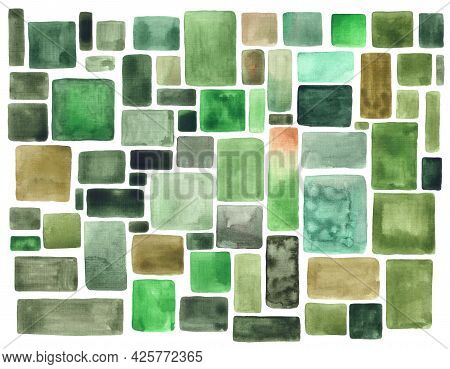 Green Watercolor Brush Strokes Vintage Background. Watercolour Uneven Square And Rectangle Spots Or