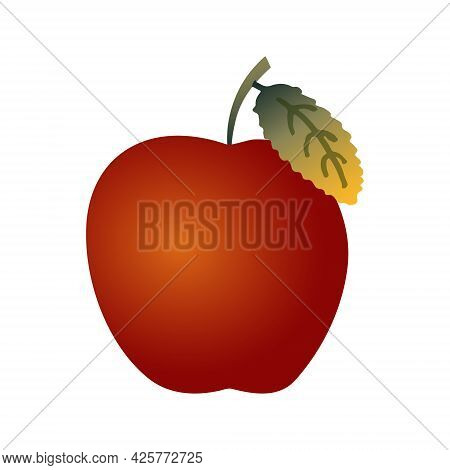 Bright Red Flat Art Apple With A Stem And A Green Leaf Isolated On A White Background