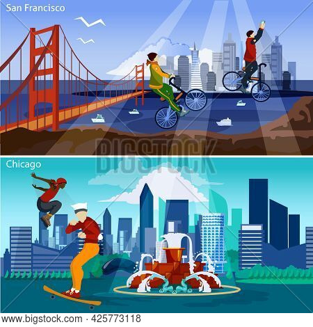 American Cities Flat Concept. Usa Sights And People Compositions Set. Us Cityscapes Vector Illustrat