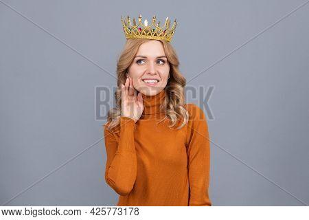 Proud Woman Smiling. Egoistic Girl Wear Diadem. Arrogance And Selfishness. Portrait Of Glory