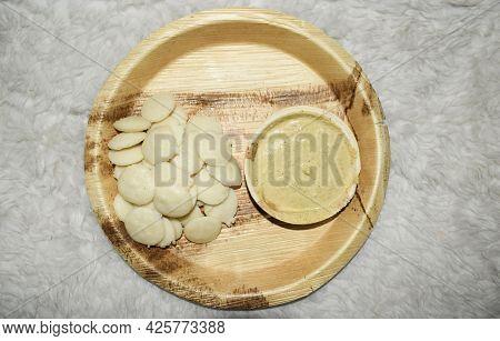 Delicious Mini Button Idli With Hot Sambar And Mungfali Peanut Chutney Served In Eco Friendly Bio Di