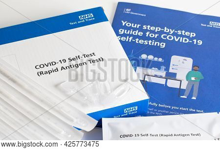 London / Uk - July 2nd 2021 - Covid-19 Antigen Test Kit And Instructions. Nhs Self Testing Kit For C