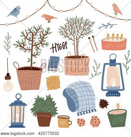 Set Of Hygge Summer Elements With Text. Hand Drawn Flat Vector Illustration Of Cute Interior Decorat