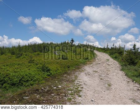Path At Silesian Beskids Mountains Range Landscapes Above European City Of Szczyrk In Poland, Clear
