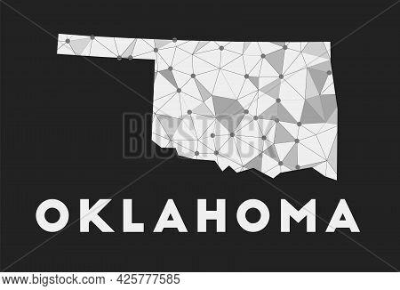 Oklahoma - Communication Network Map Of Us State. Oklahoma Trendy Geometric Design On Dark Backgroun