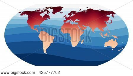 World Map Vector. Wagner Vi Projection. World In Red Orange Gradient On Deep Blue Ocean Waves. Cool