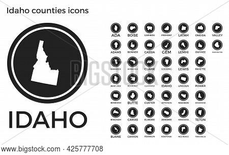 Idaho Counties Icons. Black Round Logos With Us State Counties Maps And Titles. Vector Illustration.
