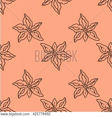 Anise Spice Pattern. Vector Seamless Pattern Of Brown Anise Star, Hand-drawn In A Sketch Style With