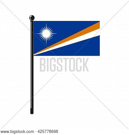 National Flag Of  Marshall Islands In The Original Colours And Proportions On The Stick
