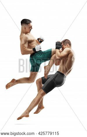 Mma. Knee Kick To The Head. Two Fighters Are Fighting. Jump Kick. Sport Action Concept. Isolated