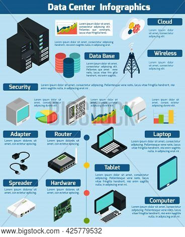 Data Center Infographics Presenting Statistics And Information About Different Devices Data Base Clo