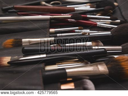 A Set Of Professional Accessories Make-up Artist, Brushes For Applying Cosmetics And Makeup, Close-u
