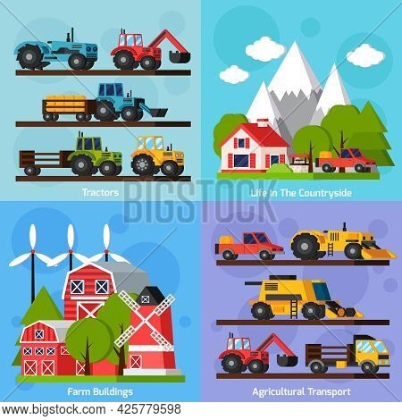 Farm Orthogonal Flat 2x2 Icons Set Showing Life In Countryside And Tractors Agricultural Transport A