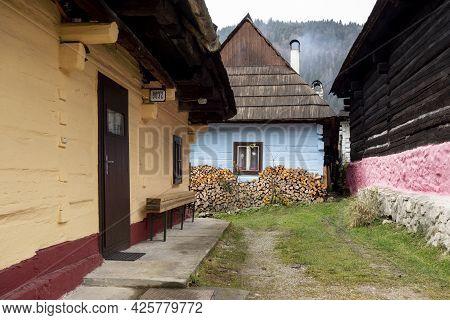 Vlkolinec, Slovakia - November 18, 2017: Traditional Folk Historic Houses In Vlkolinec Open Air Muse