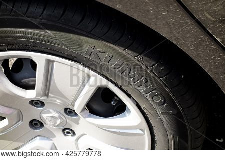 Karvina, Czech Republic - September 13, 2020: The Detail Of A Brand New Kumho Tyre On A Brown Dirty