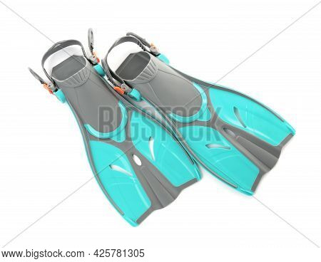 Pair Of Turquoise Flippers On White Background, Top View