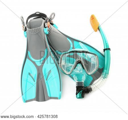 Pair Of Turquoise Flippers And Mask On White Background, Top View