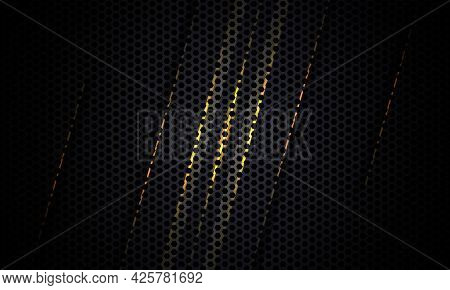 Black Background. Dark Carbon Fiber Texture With Yellow And Gray Lines. Black Metal Texture Steel Ba