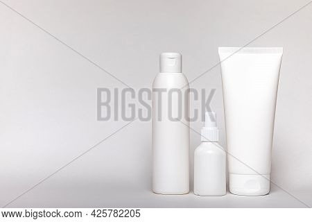 Body Cream, Shampoo, Medicine, Make-up, Cosmetic Bottle And Shower Foam. Hygiene And Care In Set Of