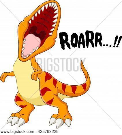 Vector Illustration Of  Cartoon Tyrannosaurus Rex Dinosaur Roaring