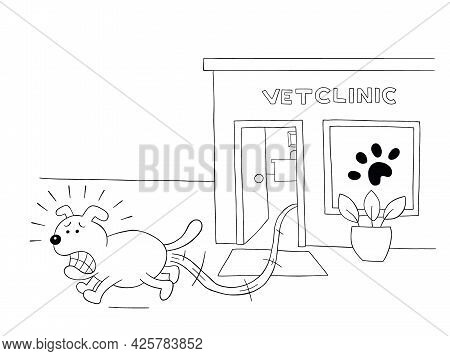 Cartoon Dog Is Scared And Runs Away From The Vet Clinic, Vector Illustration. Black Outlined And Whi