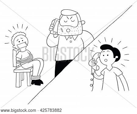 Cartoon Man Held Hostage And Ransom Demanded By Phone, Vector Illustration. Black Outlined And White