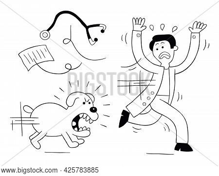 Cartoon Dog Is Very Angry And Is Chasing Vet, Vector Illustration. Black Outlined And White Colored.