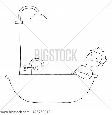 Cartoon Man Takes A Bath In The Tub And Is Very Happy, Vector Illustration. Black Outlined And White