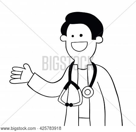 Cartoon Doctor Or Vet Is Happy And Showing, Vector Illustration. Black Outlined And White Colored.
