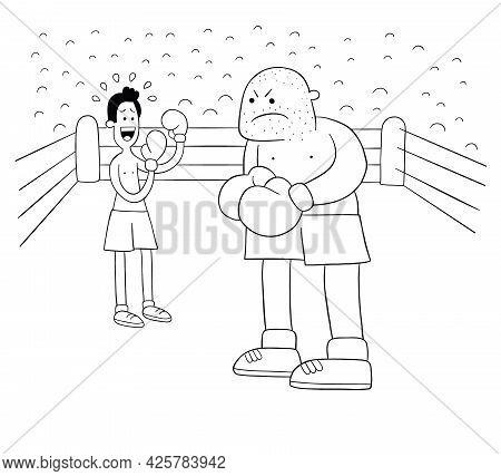 Cartoon Boxing Match, Weak And Strong Boxer In The Ring, Vector Illustration. Black Outlined And Whi