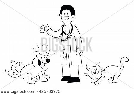 Cartoon The Vet Is With The Cat And Dog And They Are Very Happy, Vector Illustration. Black Outlined