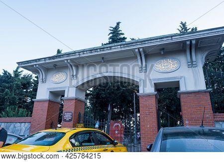 Beyoglu, Istanbul, Turkey - 06.27.2021: Huge Gate Of Historical Kulaksiz Graveyard Cemetery (origina