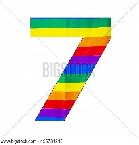 Number 7 (seven) - Lgbtq Flag Colors Background