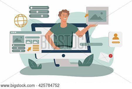 Design And Programming Banner, Web Landing Page, Advertisement. Designer Working On Ui Ux Design Or