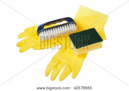 Rubber gloves brush and sponge on a white background. poster