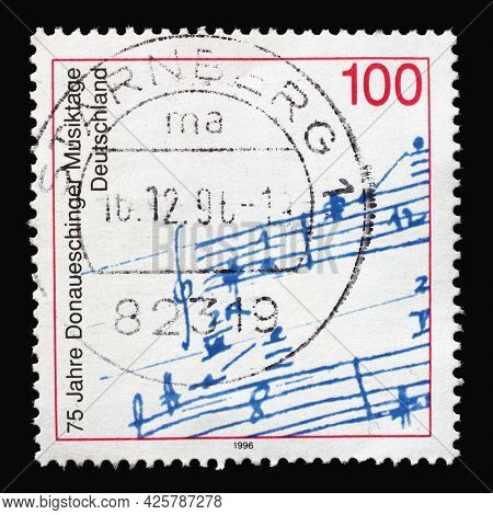 ZAGREB, CROATIA - AUGUST 29, 2014: A stamp printed in Germany shows Autograph of Michael Bach Nachtisch, 75th Anniversary of Donaueschingen Music Festival, circa 1996