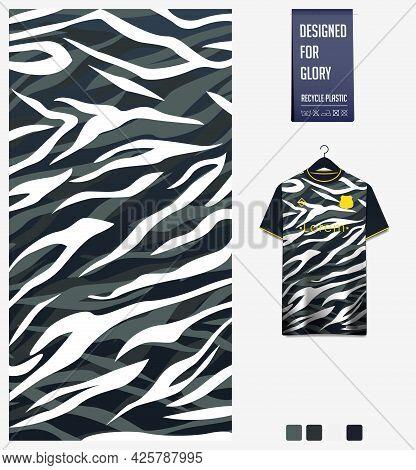 Soccer Jersey Pattern Design. Abstract Pattern On Black Background For Soccer Kit, Football Kit, Bic