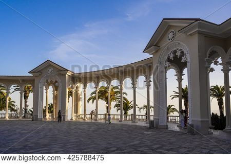 Colonnade In The City Of Gagra, Republic Of Abkhazia. A Clear Sunny Day On May 14, 2021