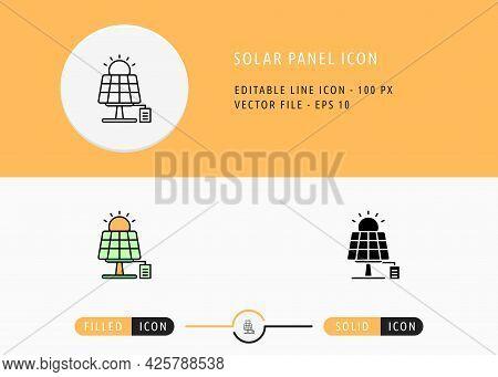 Solar Panel Icons Set Editable Stroke Vector Illustration. Energy Power Resource Symbol. Icon Line S