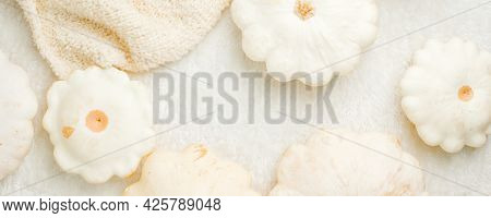 Creative Autumn White Sweater And Squash Pumpkin On White Background Copy Space, Minimal Style. Fall