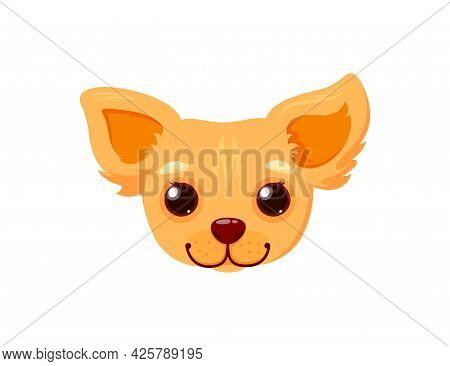 Chihuahua Smiling Face. Head Of A Puppy Isolated In White Background. Vector Illustration In Cute Ca