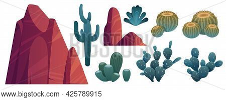 Mountain Rocks And Cacti, Stones With Green Desert Piked Plants. Natural Elements, Wild West Nature