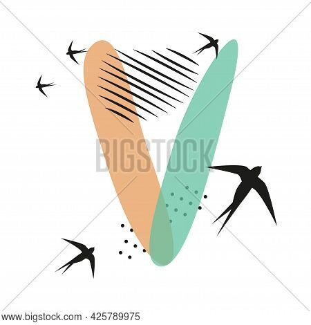 Minimalistic Pattern An Oriental Style In Form Of Letter V. Flock Of Swallows Flies. Abstract Object