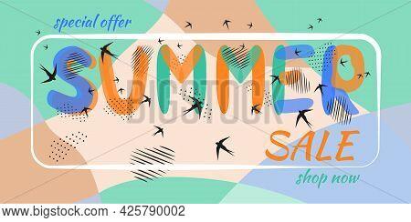 Summer Banner. Seashore, Sand, Birds, Lettering Summer Sale. Hand Drawn Letters. Spots, Dot Strokes.