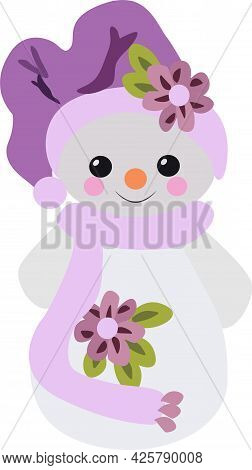 Snowman In A Beautiful Hat With A Flower In A Scarf, Vector Drawing, Isolate On A White Background