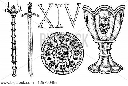 Hand Drawn Desin Collection With Medieval Sword, Coin, Cup And Roman Numbers Isolated On White. Hand